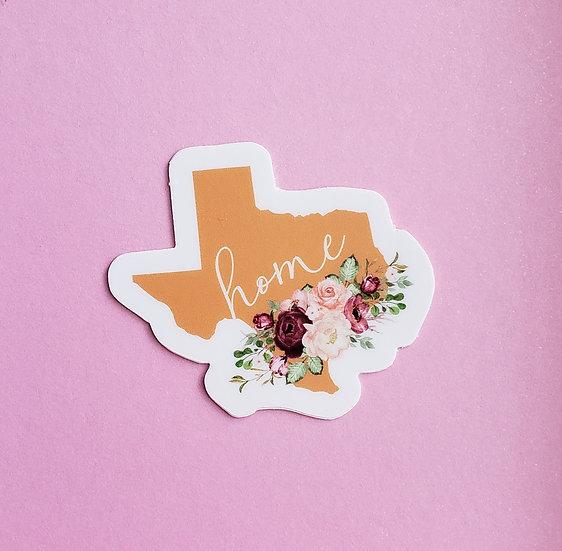 Texas - Home - Floral Sticker
