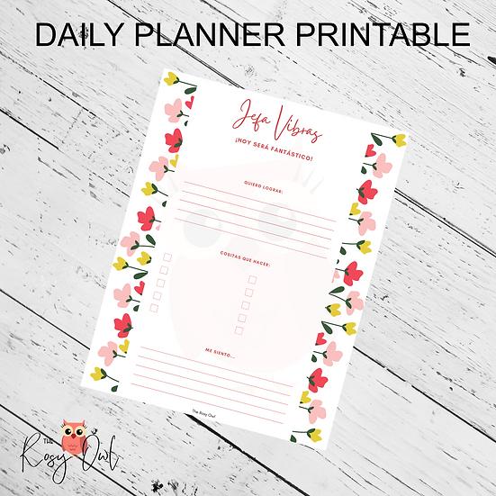 Jefa Vibras Planner Printable | Digital Download | Daily Planner Sheet