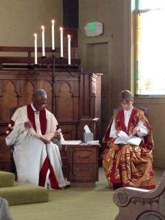 Blake & Benton seated at chancel