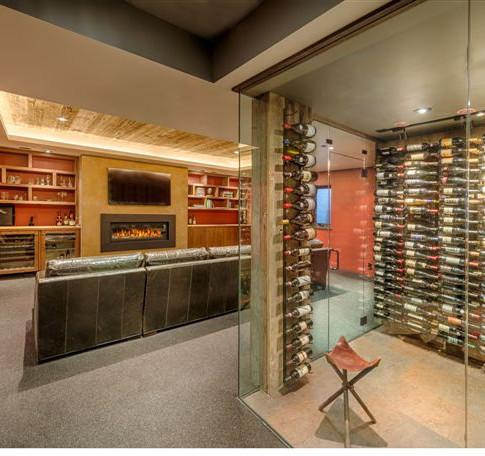 Tahoe cabin media and wine room
