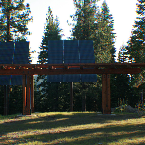Trellis in front of solar panels