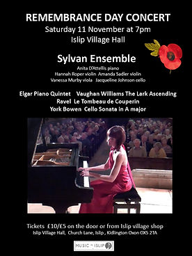 Remembrance Day Concert, Elgar, Piano Quintet, Anita D'Attellis, piano, Islip, Sylvan Ensemble