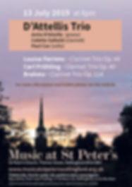 Clarinet Trio Concert, Anita D'Attellis, piano, Paul Cox, cello, Colette Salkeld, clarinet, Music at St. Peter's, Wallingford, Brahms, Farrenc, Fruhling, Clarinet trio