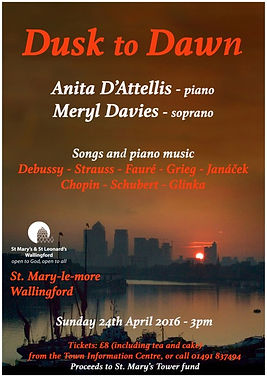 Anita D'Attellis, piano, Meryl Davies, soprano, Dusk to Dawn