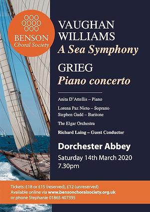 Grieg Piano Concerto, Benson Choral Society, Anita D'Attellis, piano, Dorchester Abbey, Vaughan Williams, Sea Symphony, RVW, Richard Laing