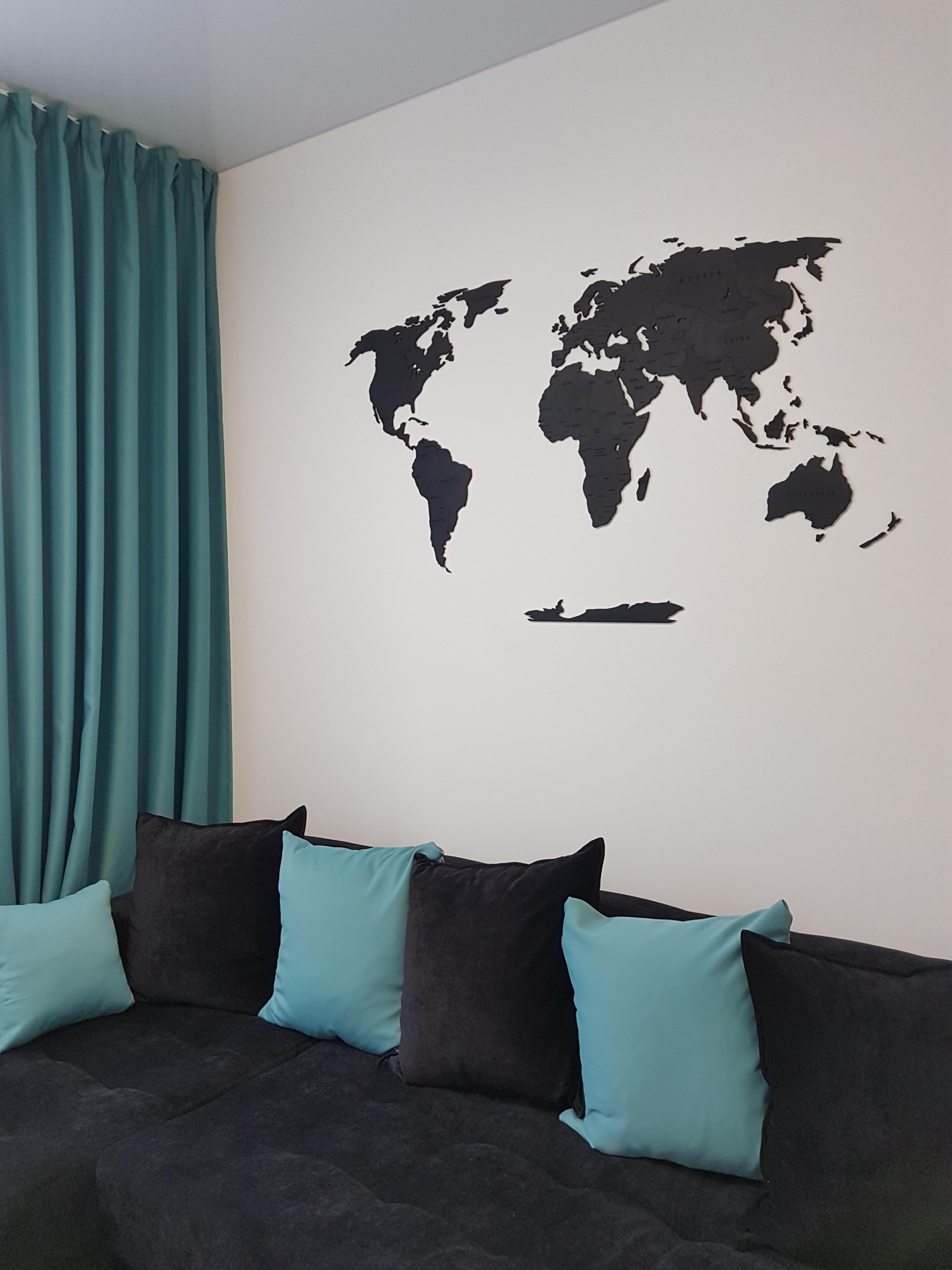 однотонная карта мира