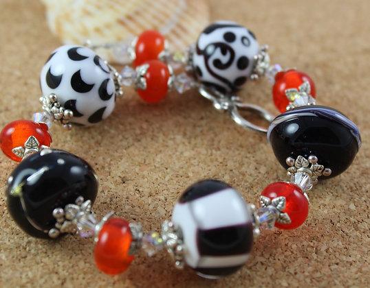 Black white and orange