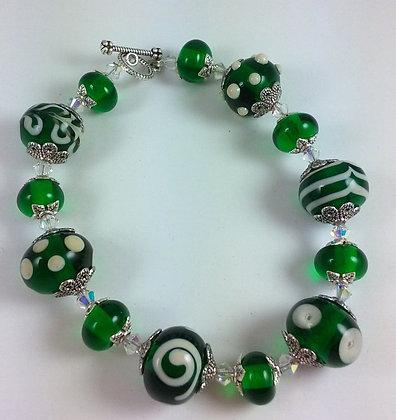 Emerald green and cream.