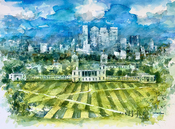 Greenwich to Canary Wharf - Original Watercolour - 75cm x 50cm