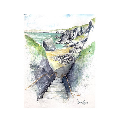Bedruthan Steps - Original Watercolour - 35 x 30cm