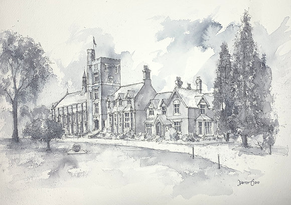 Wolverhampton Grammar School - PRINT of original watercolour