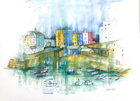 Tenby Harbour - Original Watercolour - 60 x 70cm