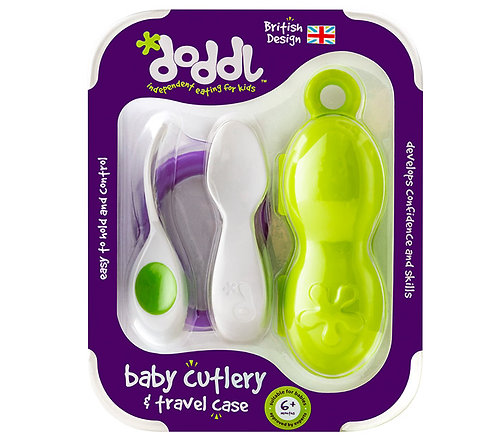 Doddl Baby Cutlery Set & Case - Lime Green