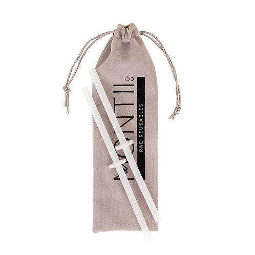 MontiiCo. Silicone Mini Stopper Straw Set - Clear