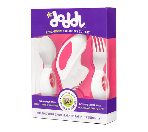 Doddl 3 Pcs Childern Cutlery - Raspberry Pink