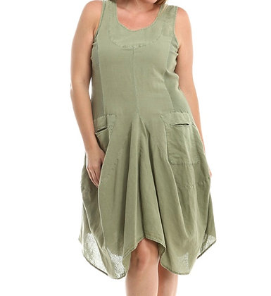 Parachute tank dress w/ cotton jersey panel