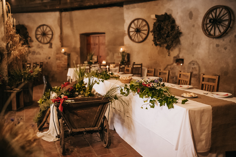 rustic bohemian výzdoba na svatbě