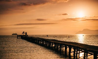 playa de muro in sunset mallorca spain