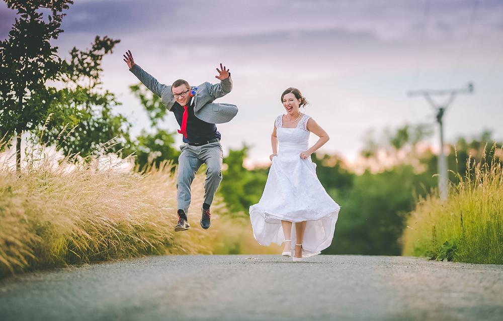 happy newlyweds during goldenhour