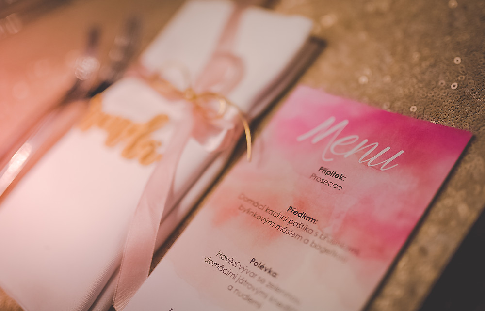 wedding decor, watercolor, pink and gold