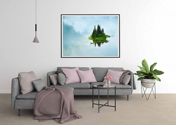 Living Room Wall Mockup Island in the Sk