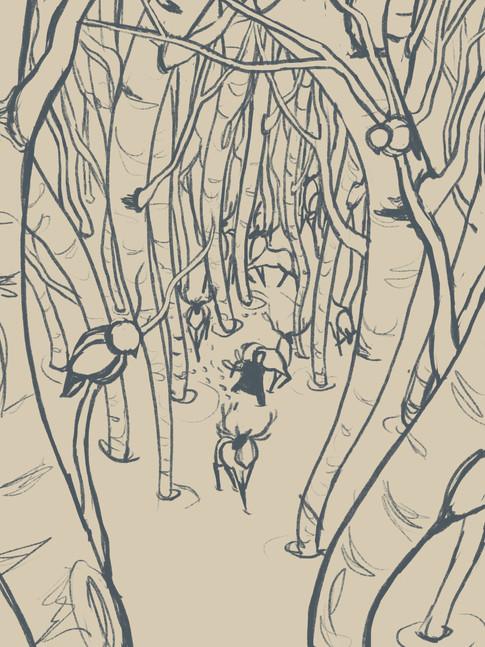 Walking Through Aspens   Sketch