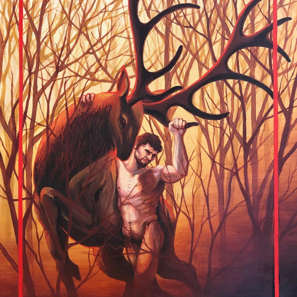 Figure Leaning on Elk | Final