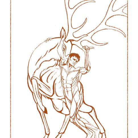 Figure Leaning on Elk | Sketch