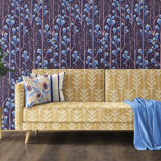 Sagebrush Wallpaper & Golden Ferns Couch