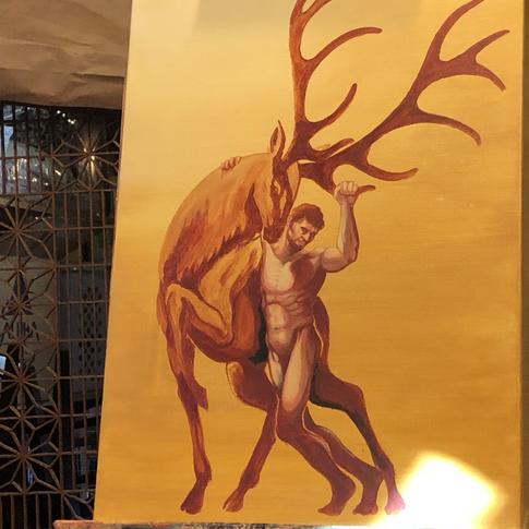 Figure Leaning on Elk | Process