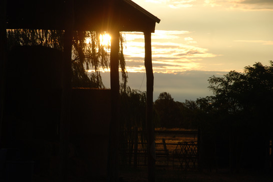 Hayshed in Autumn Sunset