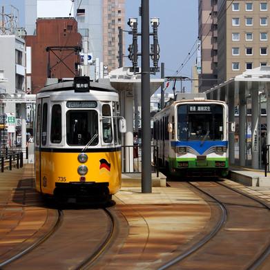 市内路面電車も風物詩