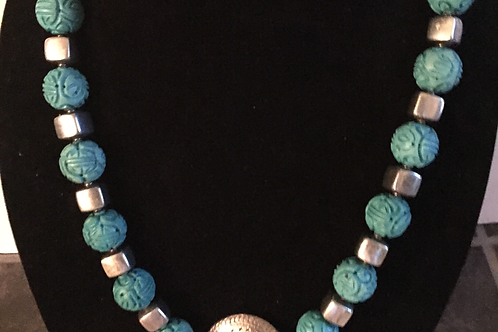 Carved Turquoise and Silver Necklace