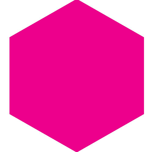 Hot Pink Hex Tile one inch thick