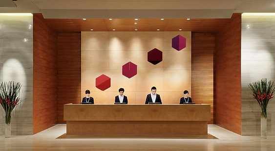 hexagon art over front desk hotel lobby reception cool modern unique contemporary abstact