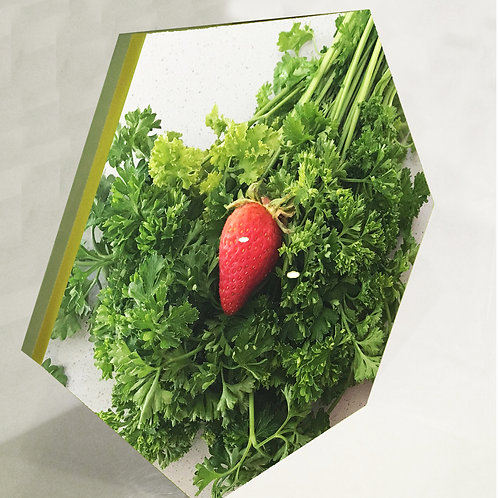 Parsley and Strawberry Hex Tile one inch thick