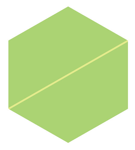 Celadon Stripe Hex Tile one inch thick