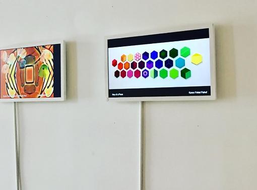 "Karen Amy Finkel Fishof's artwork, ""Hex of a Piece"" a the ""Grow Show"" art Arthouse NYC"