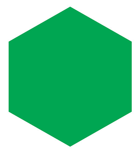 Grass Green Hex Tile one inch thick