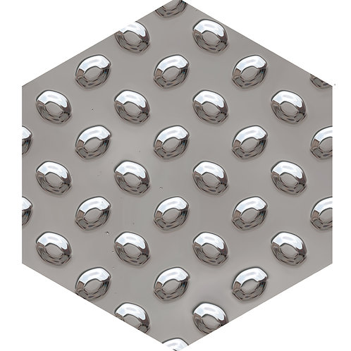 Silver Studs Hex Tile one inch thick