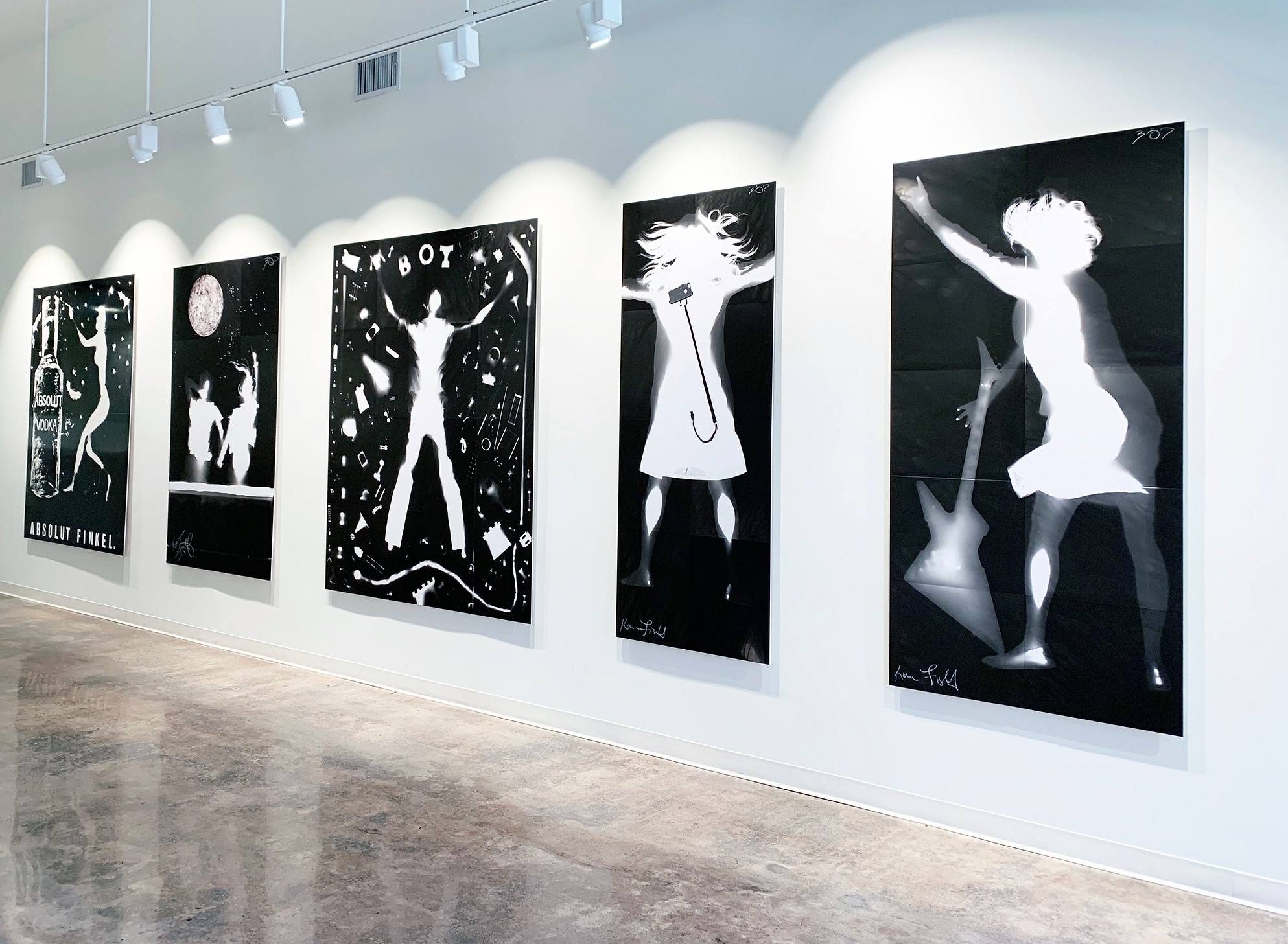 Art Gallery Exhibition Show of Artist Karen Amy Finkel Fishof large black and white photograms