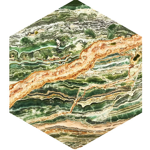 Green Marble Hex Tile one inch thick