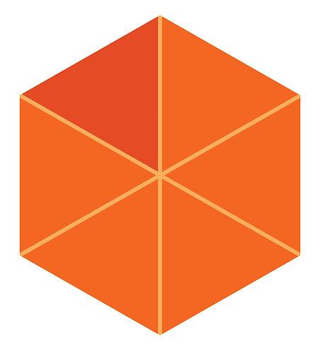 Orange Slice Hex Tile one inch thick