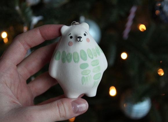 Bear ornament - Mint scarf