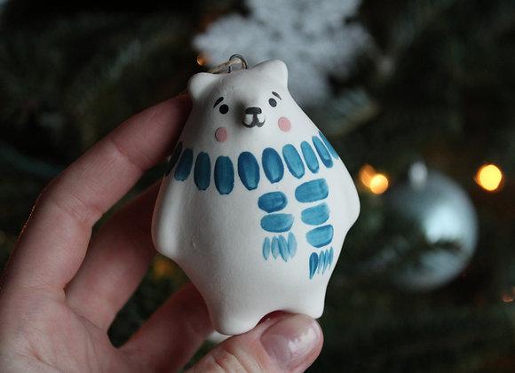 Bear ornament - Dark blue scarf