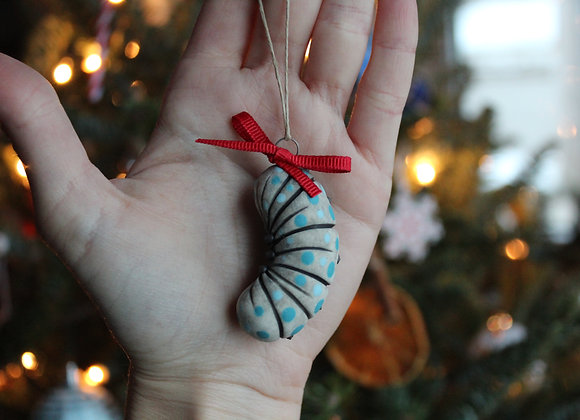 Baby Grub Ornament - Turquoise and baby blue