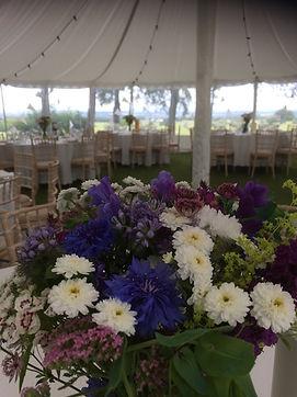 Wedding table arrangements, locally grown flowers, British flowers, Scottish flowers, Scottish Borders flowers, Peebles flowers
