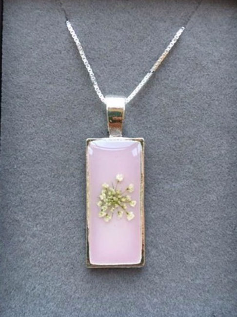 Queen Anne's Lace Flower Resin Pendant