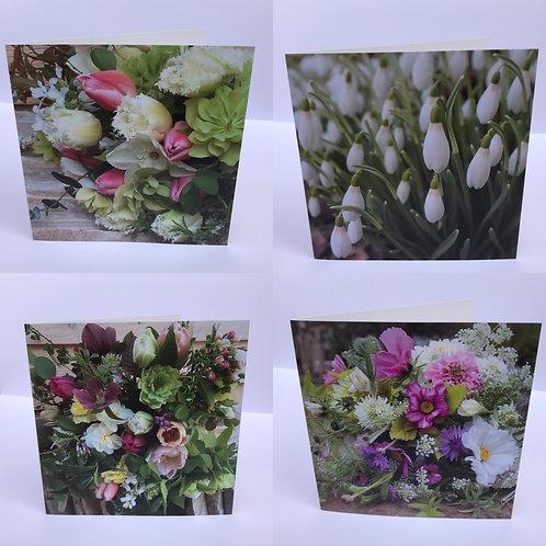 Set of 4 Flower GreetingsCards