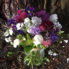 Jar of Seasonal Spring Flowers